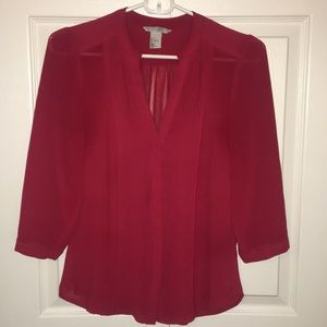 Sheer red 3/4 length sleeve blouse